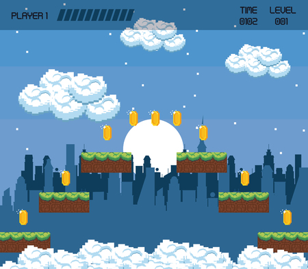 Pixelated urban videogame scenery vector illustration graphic design Illustration