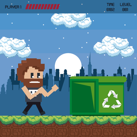 Pixelated urban videogame scenery vector illustration graphic design Ilustração