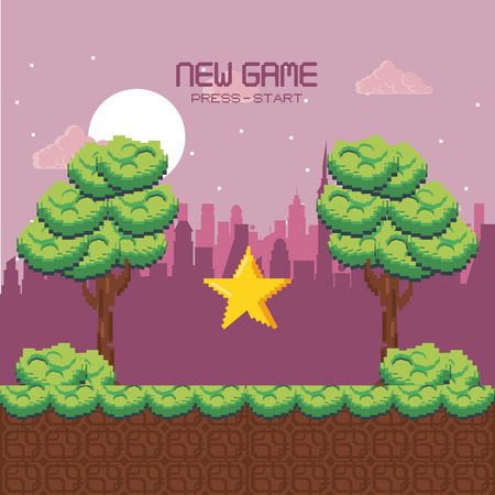 Pixelated urban videogame scenery vector illustration graphic design 向量圖像
