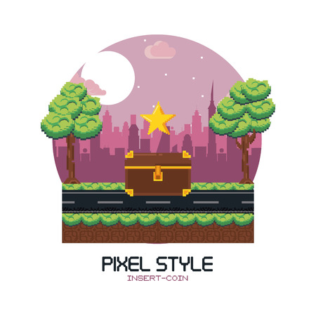 Pixelated videogame scenery vector illustration graphic design