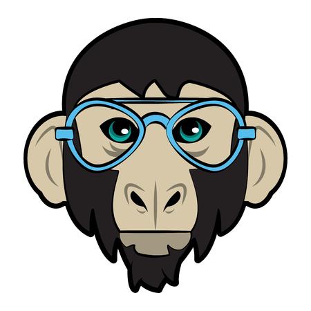 Cool hipster monkey head cartoon vector illustration graphic design