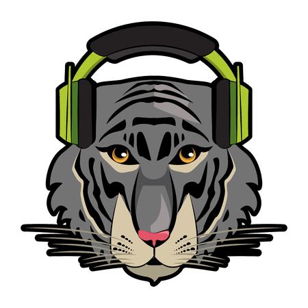 Cool hipster tiger head cartoon vector illustration graphic design Illustration