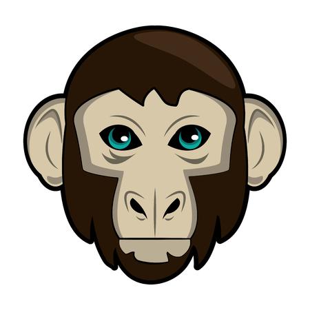 Monkey Wild animal head vector illustration graphic design Illustration