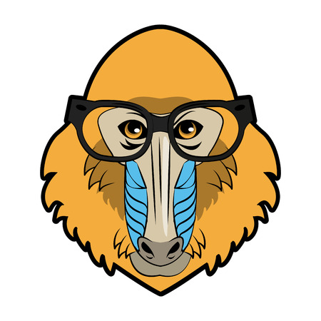 Mandrel monkey Wild animal head vector illustration graphic design Illustration