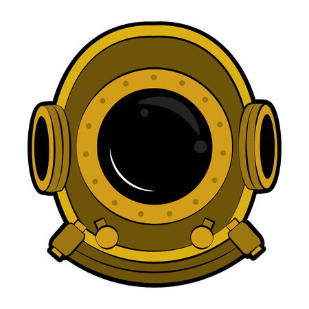 Antique diving helmet vector illustration graphic design Illusztráció