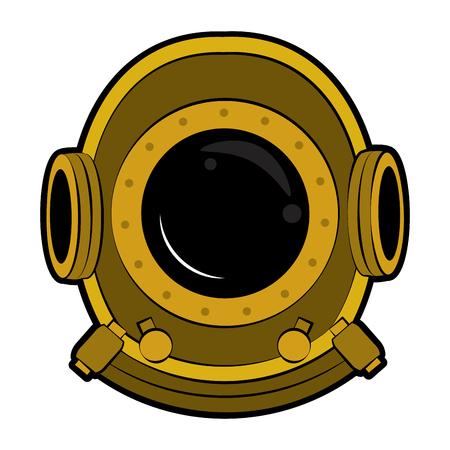 Antique diving helmet vector illustration graphic design Vectores
