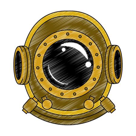 Antikes Taucherhelm-Vektorillustrationsgrafikdesign Vektorgrafik