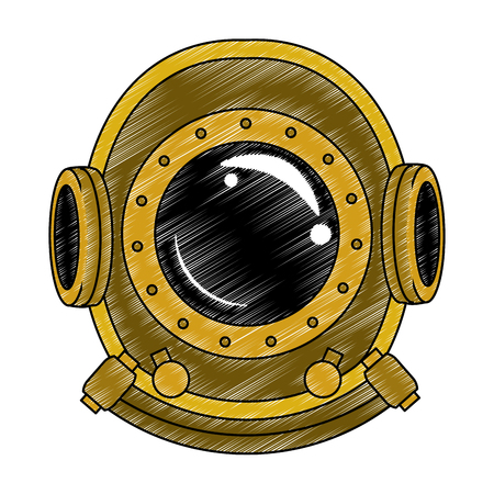 Antique diving helmet vector illustration graphic design Çizim