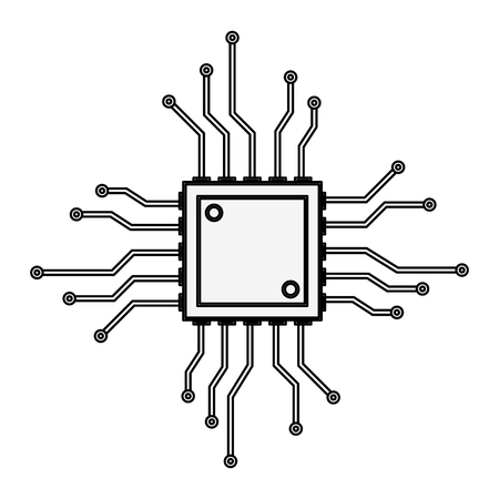 Microchip technology isolated vector illustration graphic design Vettoriali