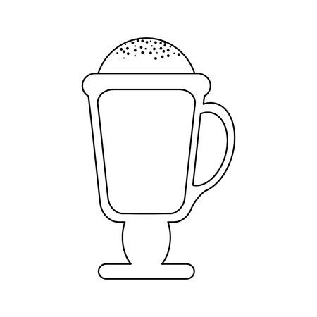 Capuccino on coffee mug vector illustration. Stock Illustratie