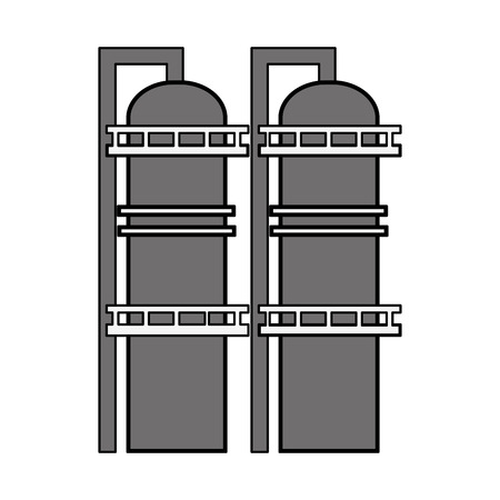 Black and white illustration of two gas tanks Illustration
