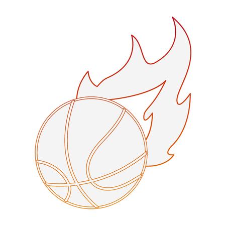 Basketball ball on fire vector illustration graphic design Illustration