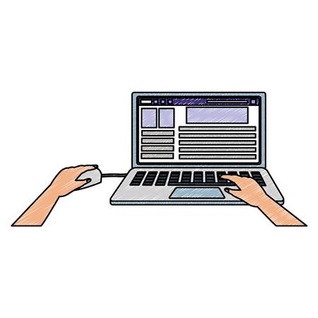 Looking social media on laptop vector illustration graphic design  イラスト・ベクター素材