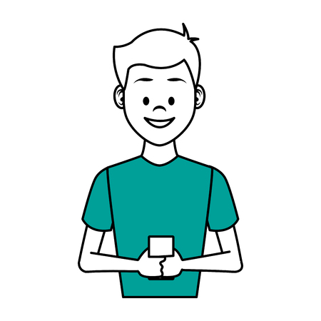Illustration of a man in a green shirt holding a phone