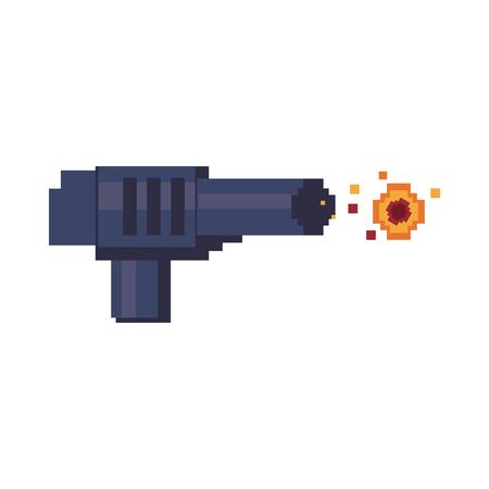 Illustration of a handgun shooting pixelated fire Иллюстрация