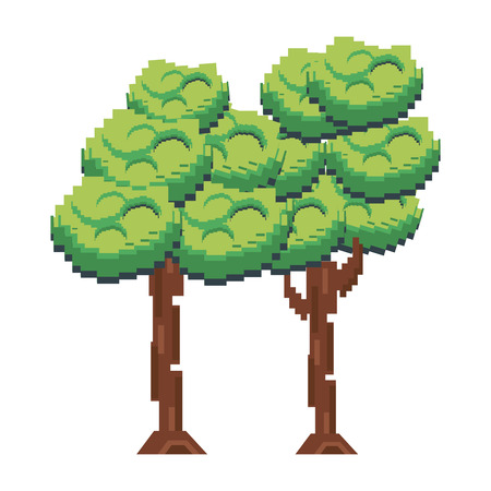 Pixelated green trees on a white background Illustration