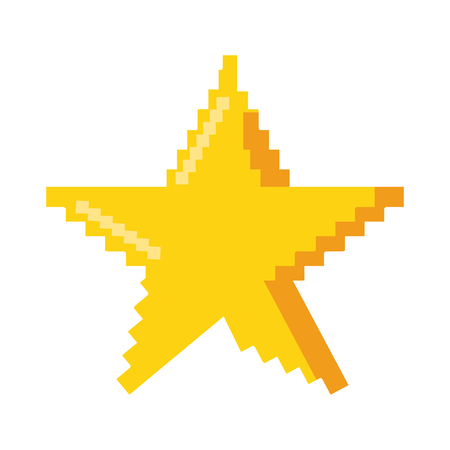 Pixelated star symbol on a white background