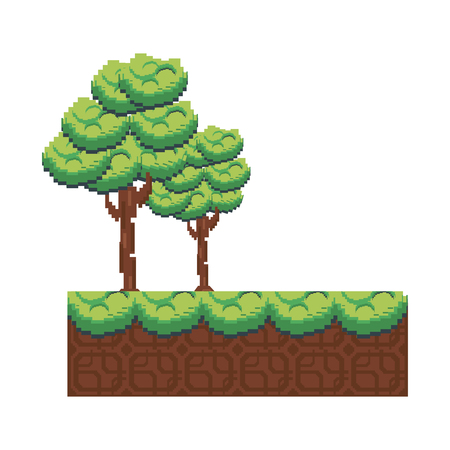 Pixelated trees and grass illustration on a white background