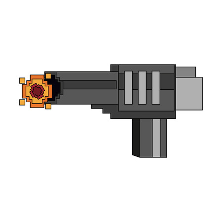 Pixelated handgun shooting on a white background