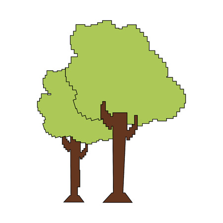 Pixelated trees isolated on a white background