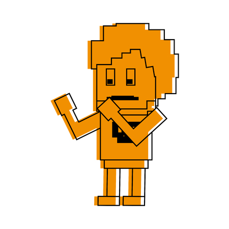 Pixelated fighter man character illustration graphic design