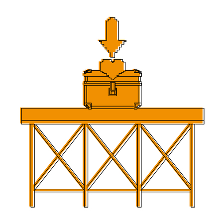 Yelow illustration of a pixelated chest with heart inside on structure Illustration