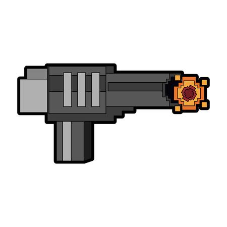 Pixelated handgun shooting vector illustration graphic design