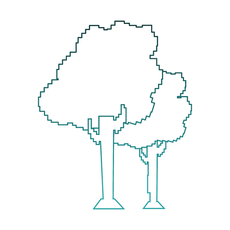 Pixelated trees isolated vector illustration graphic design Illustration