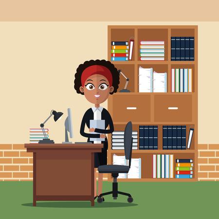 Business woman at office cartoons vector illustration graphic design Stock Illustratie