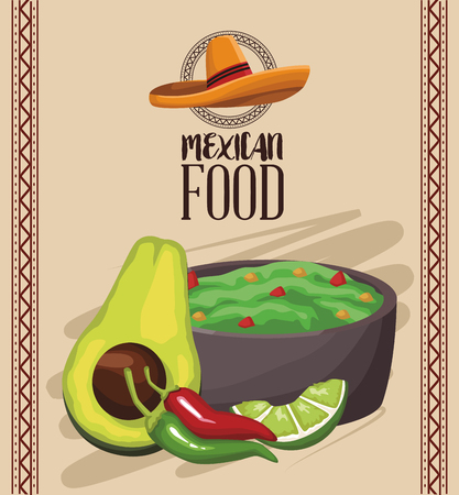 Mexican food menu card vector illustration graphic design Vectores