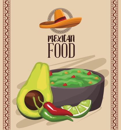 Mexican food menu card vector illustration graphic design Vettoriali