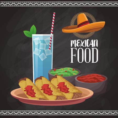 Mexican food menu card vector illustration graphic design Illustration