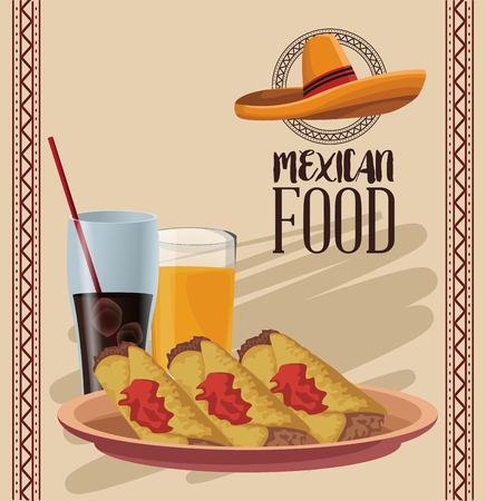 Mexican food menu card vector illustration graphic design Иллюстрация