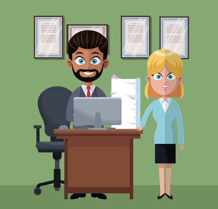 Coworkers at office cartoons vector illustration graphic design
