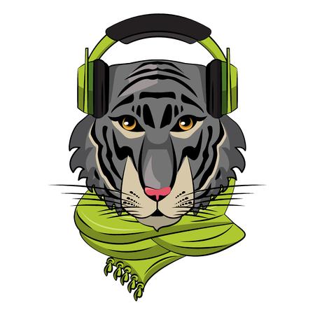 Cool hipster tiger head cartoon vector illustration graphic design Ilustração