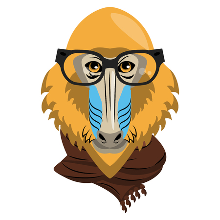 Cool hipster mandrel monkey head cartoon vector illustration graphic design