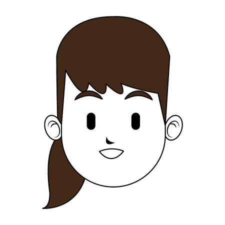 Woman face in a ponytail cartoon vector illustration graphic design