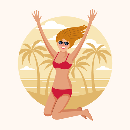 Happy woman at beach on round icon vector illustration graphic design