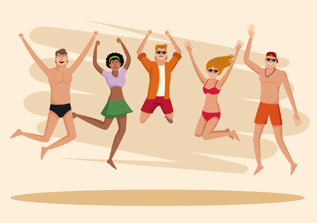 Summer, people and beach cartoon vector illustration graphic design
