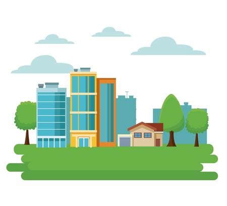 Stadtgebäude-Karikaturvektor-Illustrationsgrafikdesign