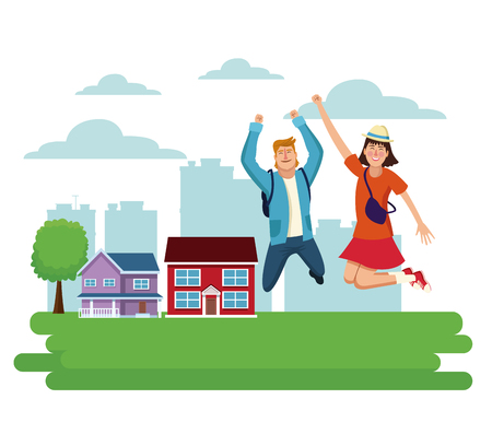Young people jumping at town vector illustration graphic design.