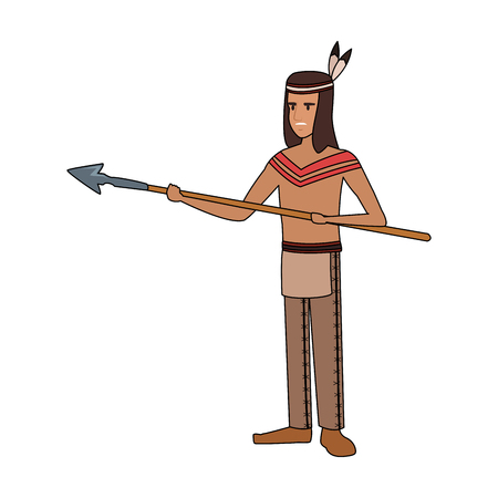 American indian with spear vector illustration graphic design Vettoriali