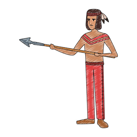 American indian with spear vector illustration graphic design Ilustração