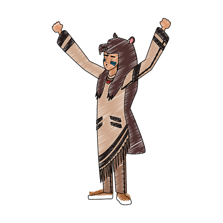 American indian with bear jacket vector illustration graphic design