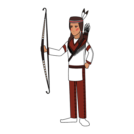 American indian with bow and arrows vector illustration graphic design Ilustração