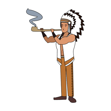 American indian with tobacco pipe vector illustration graphic design