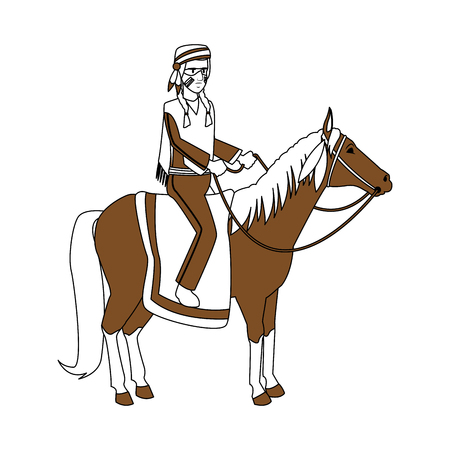 American indian riding a horse vector illustration graphic design Illustration