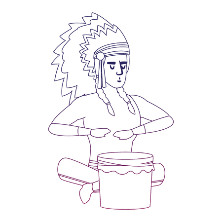 American indian playing drum vector illustration graphic design