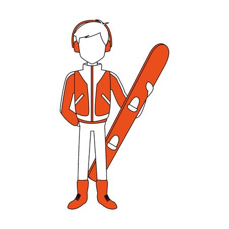 Man with snowboard vector illustration graphic design Illustration