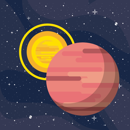 Mars with sun vector illustration graphic design